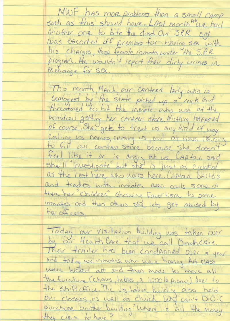 An inmates account of the abuse that occurs at Montgomery Women's Facility