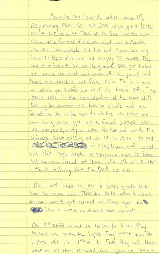 Statement form an inmate highlighting the daily routine in Montgomery Women's Facility