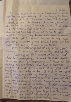 Mental illness and depression - An untitled letter from an inmate at Montgomery Women's Facility